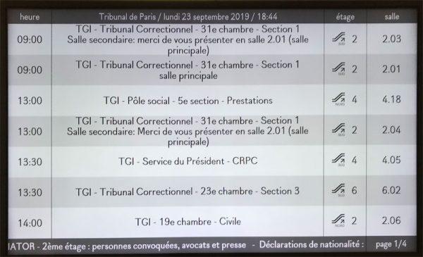 Horaires des audiences dans les salles du TGI de Paris